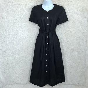 Black Linen Shirtdress Tie Waist Vintage Talbots
